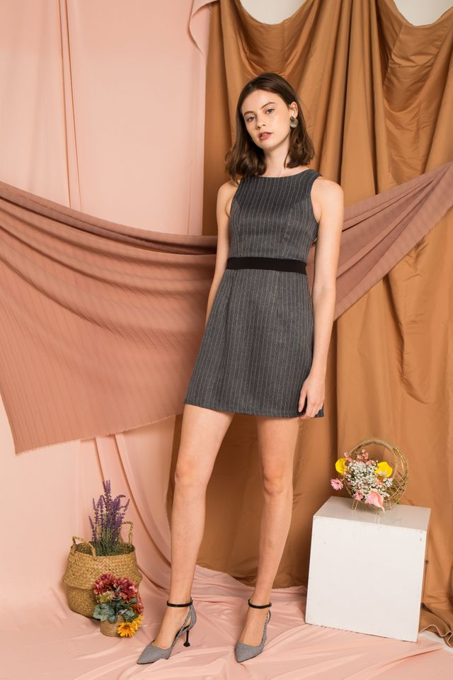Madisyn Striped Work Dress in Dark Grey