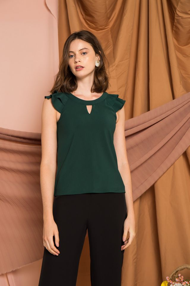 Chace Keyhole Ruffles Top in Forest