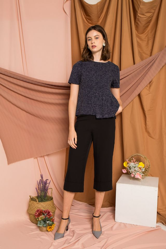 Galen Tweed Pleated Top in Navy