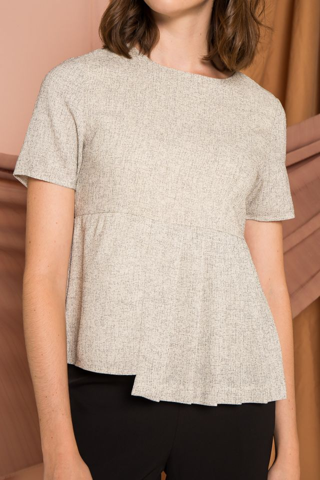 Galen Tweed Pleated Top in Off-White