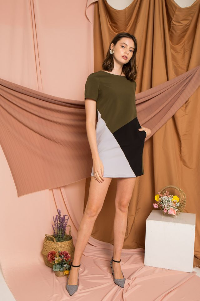Cathey Colourblock Shift Dress in Olive