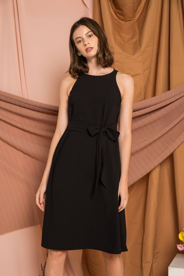 Mischa Ribbon Midi Dress in Black