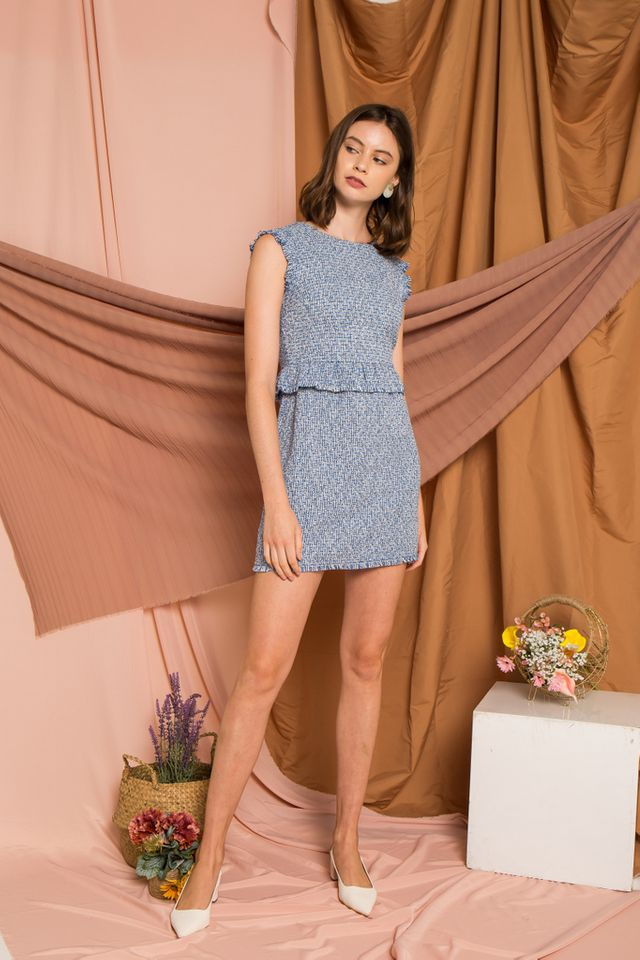 Alia Tweed Work Dress in Blue