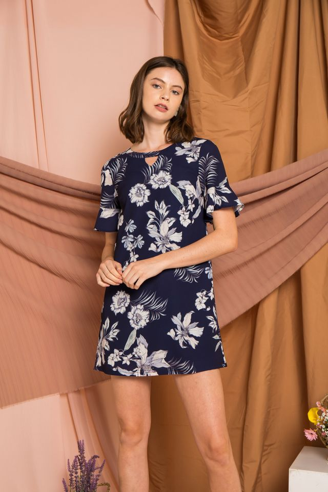 Silvana Keyhole Floral Dress in Navy