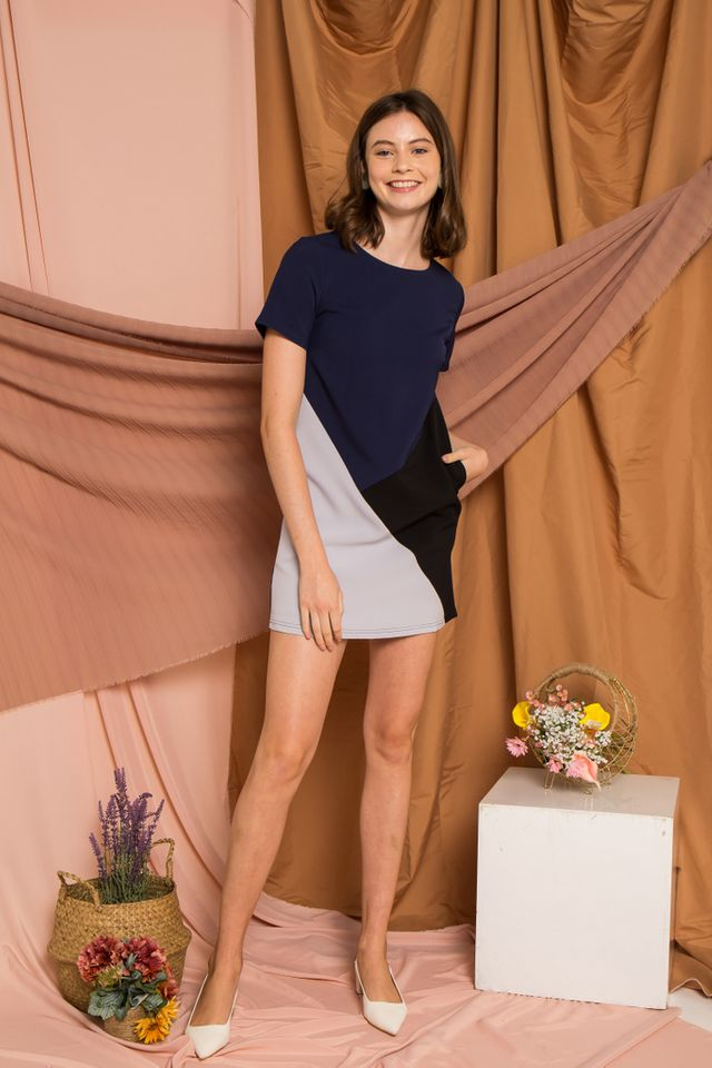 Cathey Colourblock Shift Dress in Navy