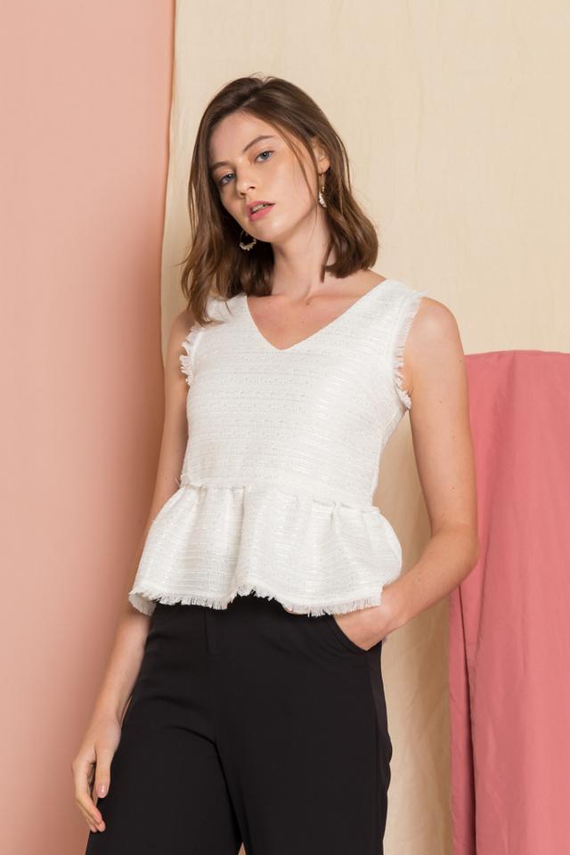 Meredith Tweed Fringe Top in White
