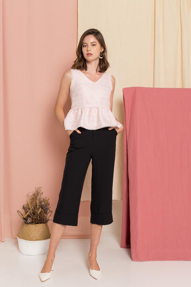 Meredith Tweed Fringe Top in Pink