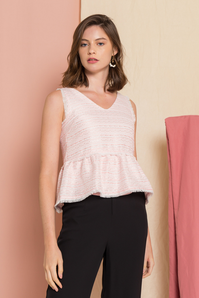 Meredith Tweed Fringe Top in Pink
