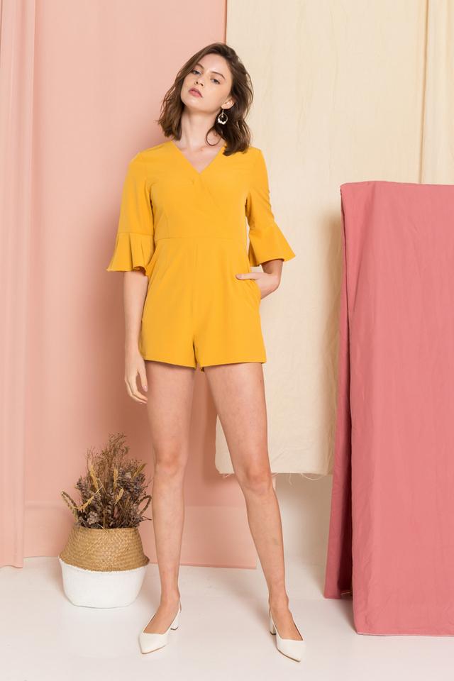 Lorelai Flute Sleeves Romper in Mustard