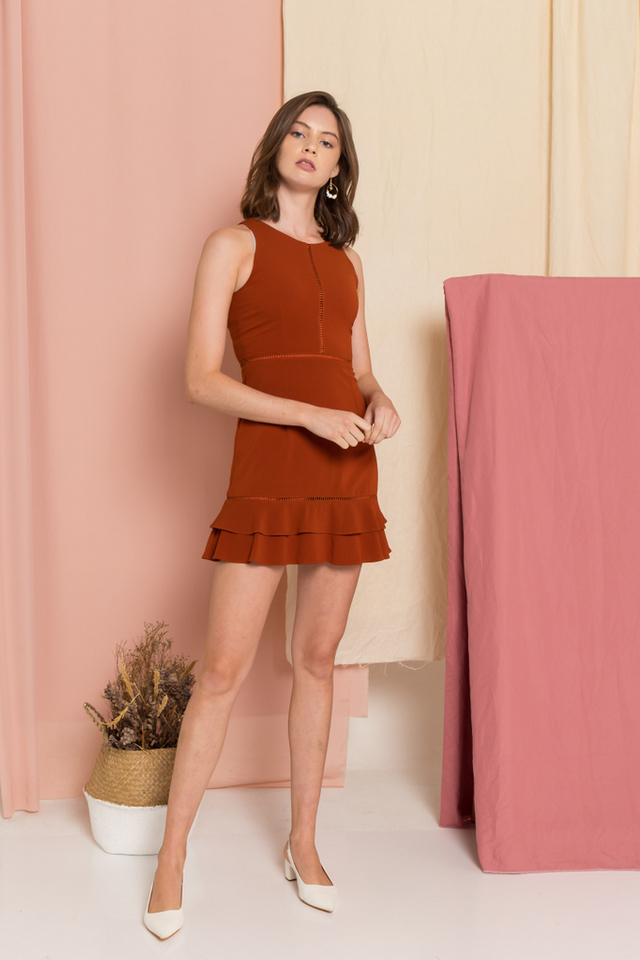 Rylie Ruffles Skater Dress in Rust (L)