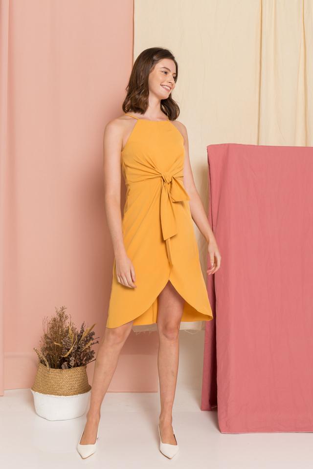 Aurora Ribbon Midi Dress in Mustard