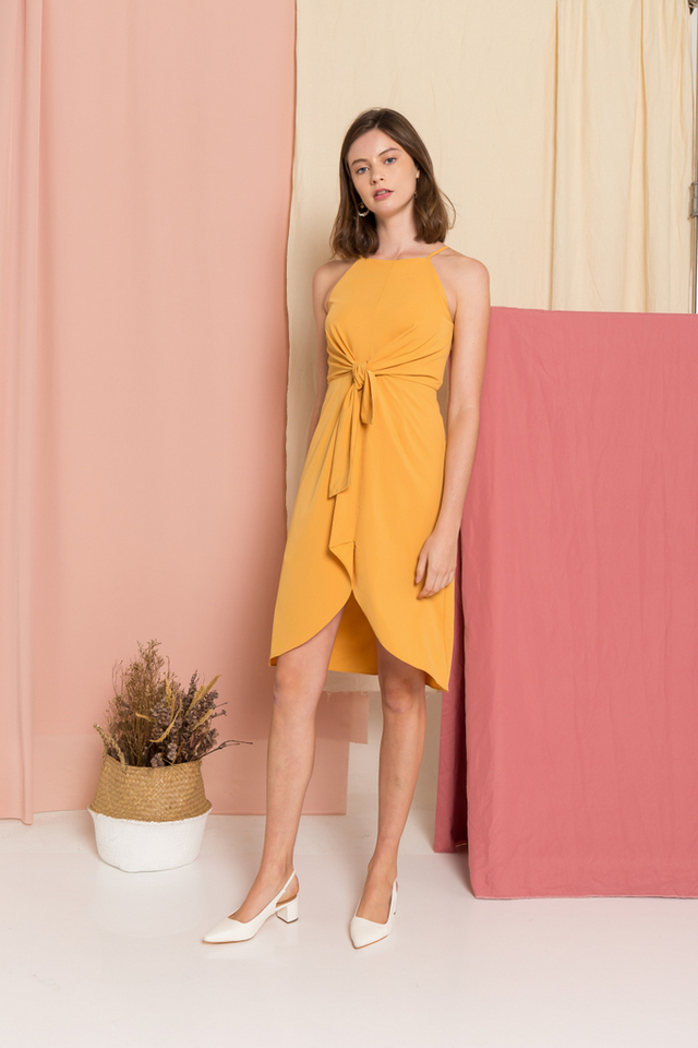Aurora Ribbon Midi Dress in Mustard