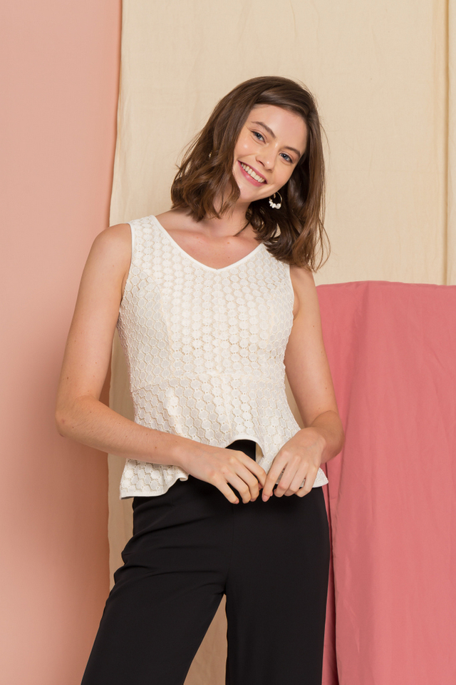 Enya Lace Peplum Top in White