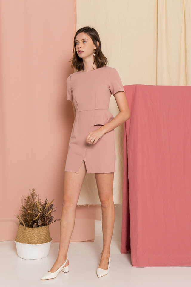 Sloane Peplum Sheath Dress in Dusty Pink (XS)
