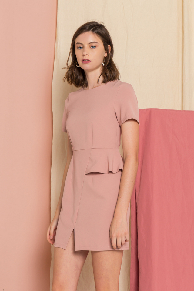 Sloane Peplum Sheath Dress in Dusty Pink