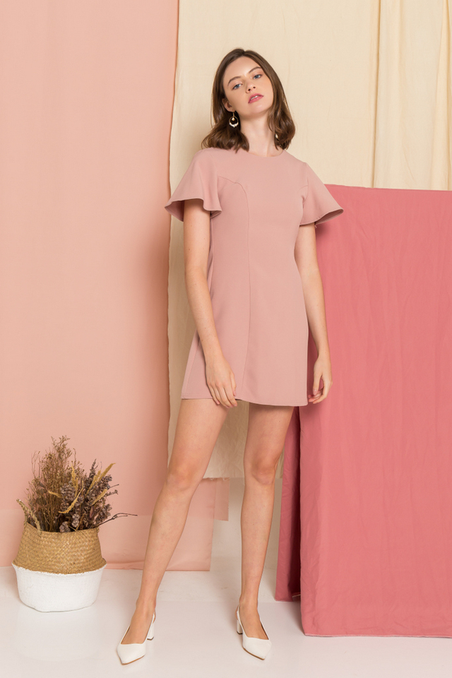 Ainsley A-Line Dress  in Dusty Pink