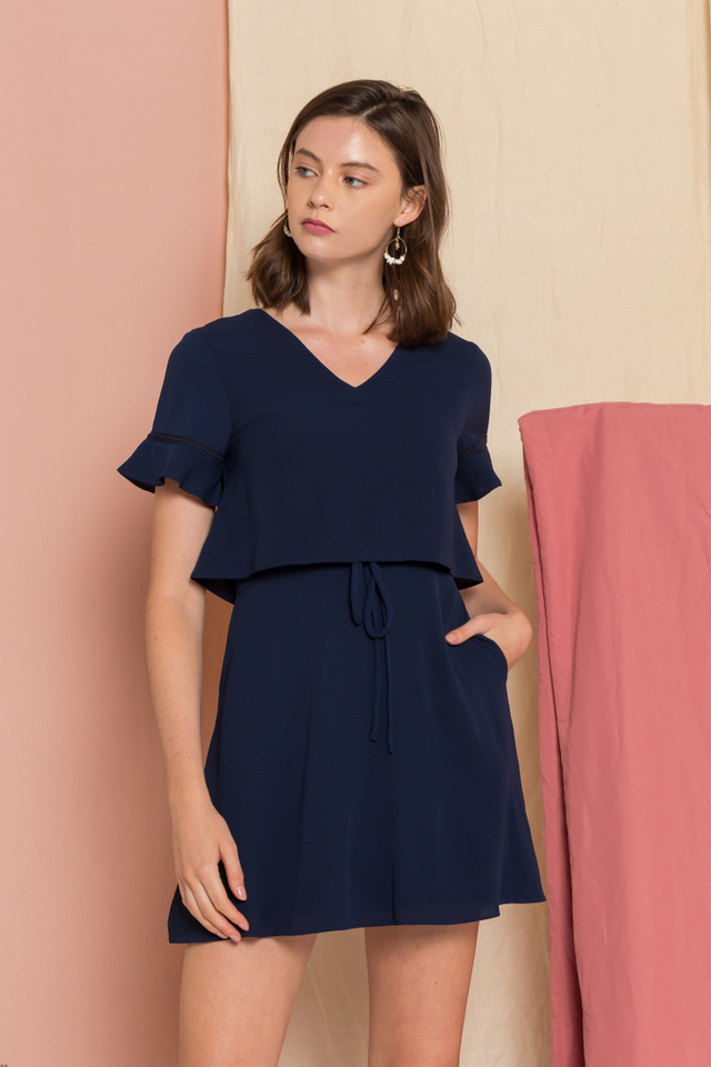 Madison Layered Skater Dress in Navy (XS)