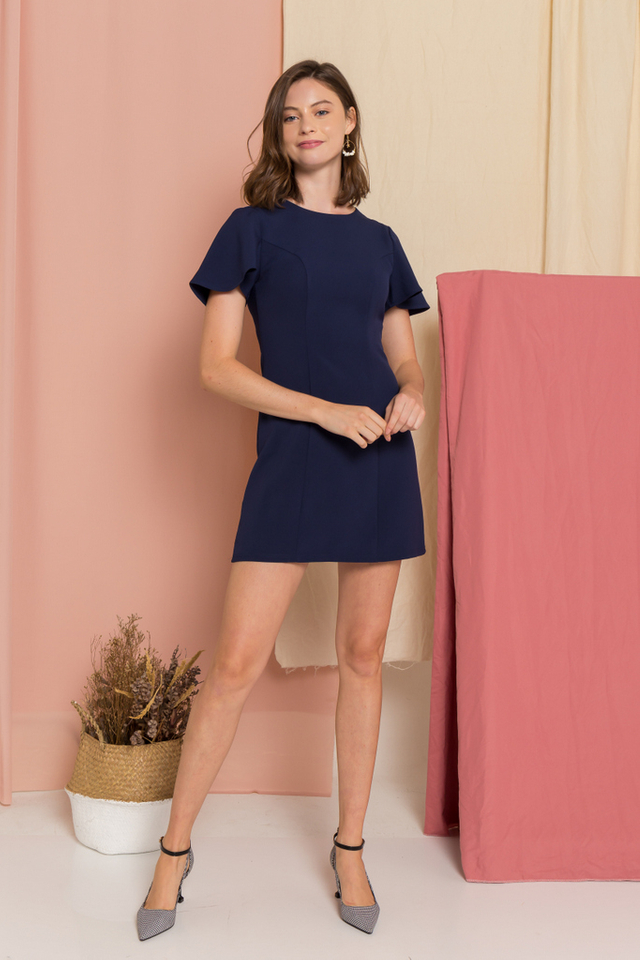 Ainsley A-Line Dress  in Navy