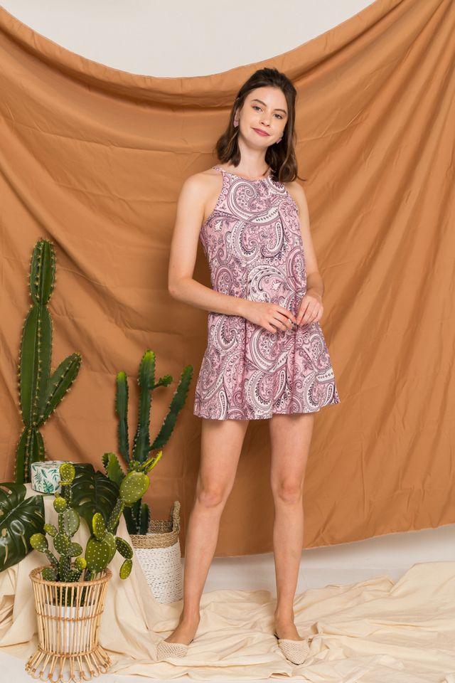 Arissa Bohemian Halter Dress in Light Pink