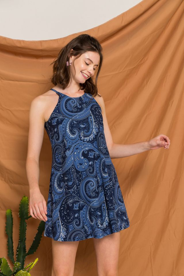 Arissa Bohemian Halter Dress in Navy