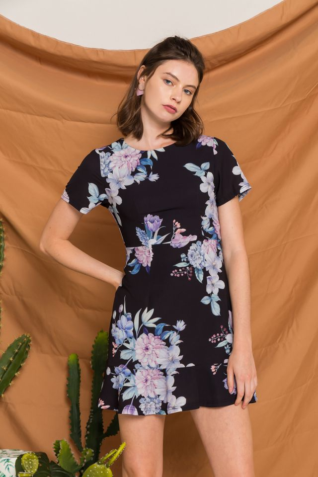 Lizbeth Floral Ruffles Dress in Black