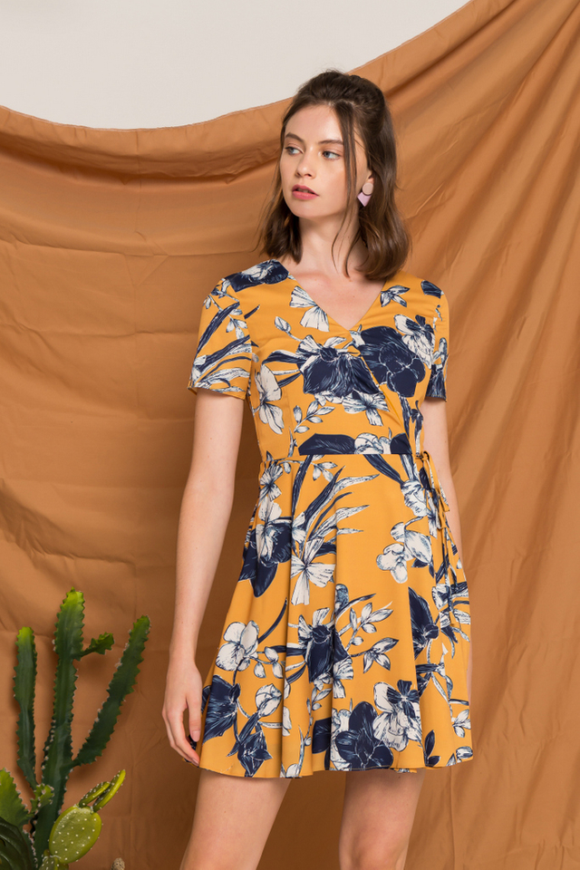 Kailyn Floral Skater Dress in Mustard (XS)