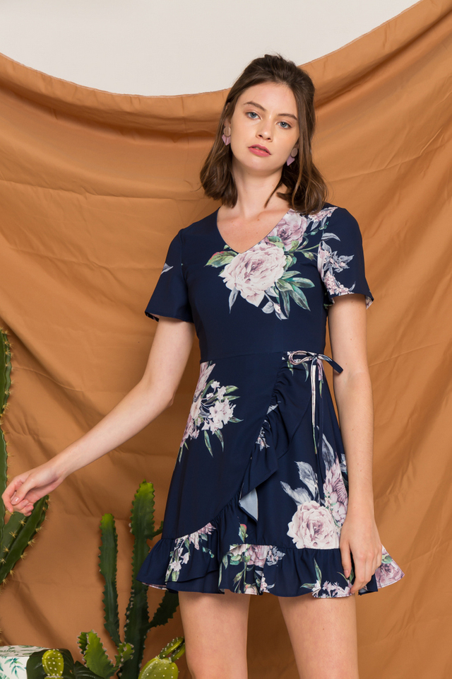 Rhys Floral Ruffles Dress in Navy (XS)