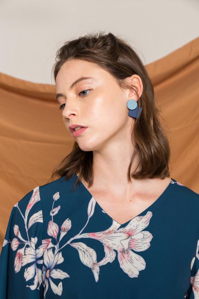 Chesire Geometric Earrings in Blue