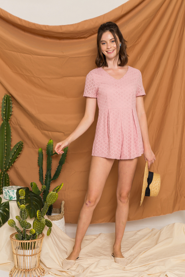 Ariella Eyelet Pleated Romper in Light Pink