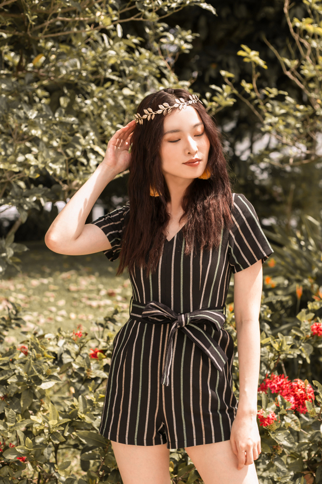 Esmena Striped Romper in Black