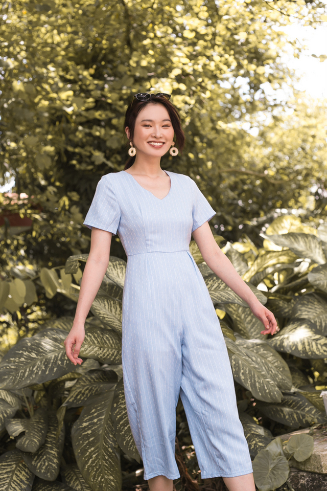 Hartley Striped Jumpsuit in Blue