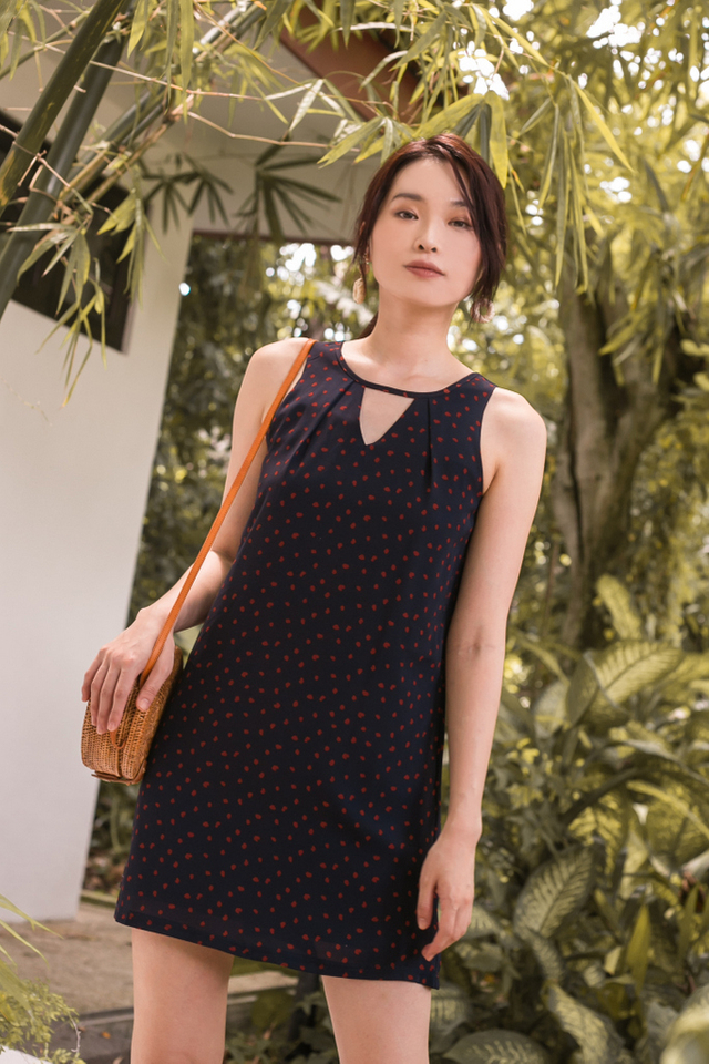 Arisia Dotted Trapeze Dress in Navy