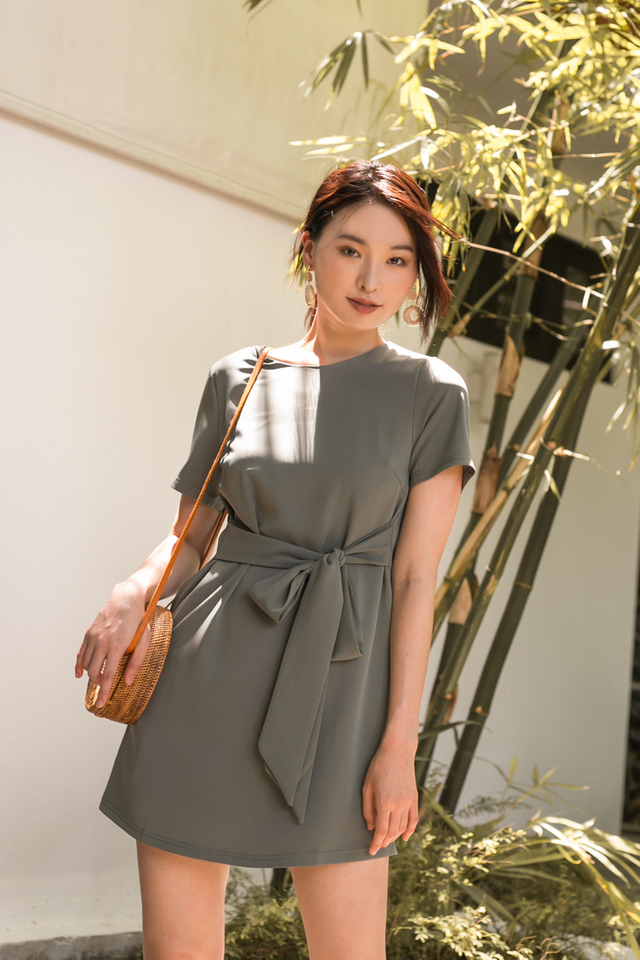 Evelynn Ribbon Shift Dress in Sage