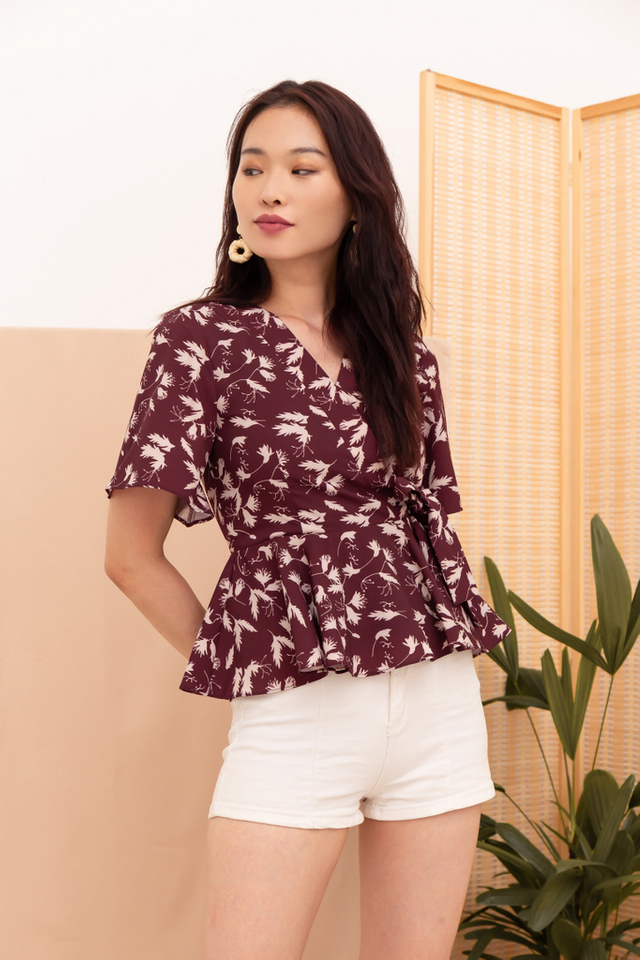 Inessa Printed Peplum Top in Merlot Red