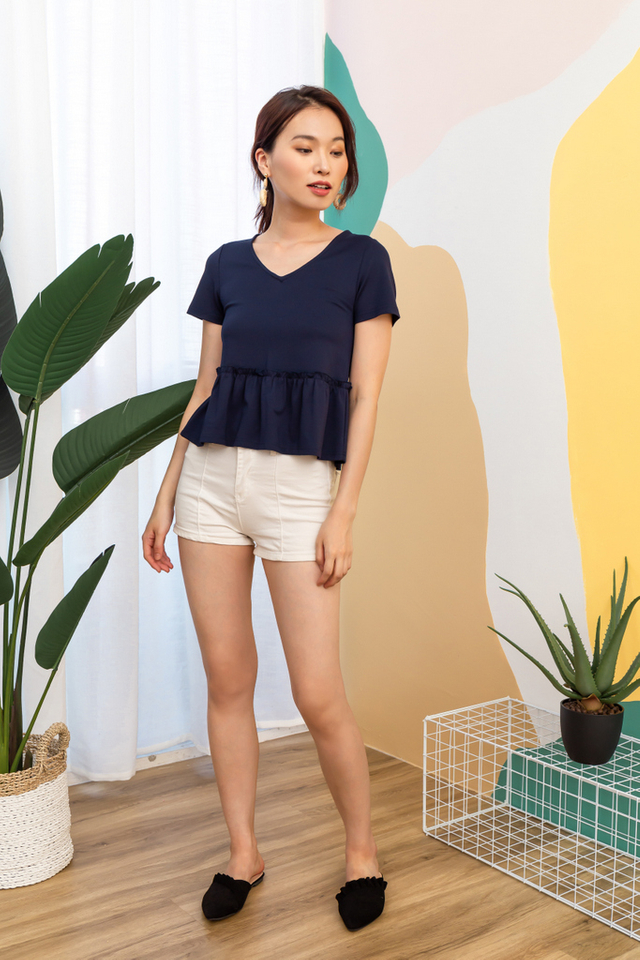 Steena Basic Babydoll Top in Navy (XS)