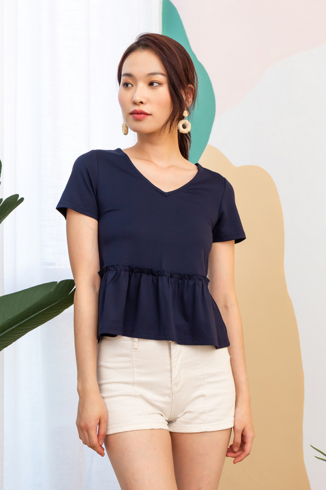 Steena Basic Babydoll Top in Navy