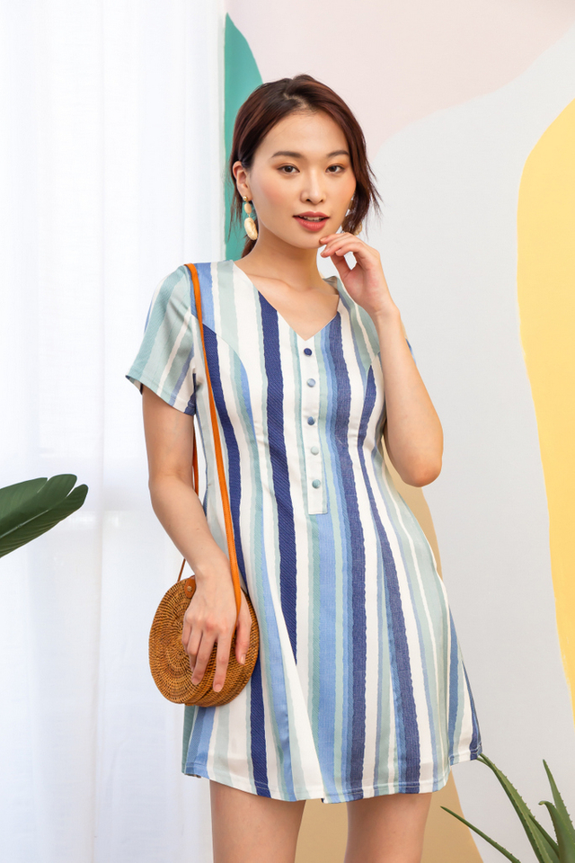 Jameen Striped Button Dress