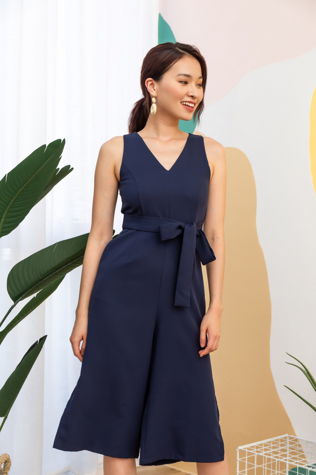 Prairie Ribbon Slit Jumpsuit in Navy (L)