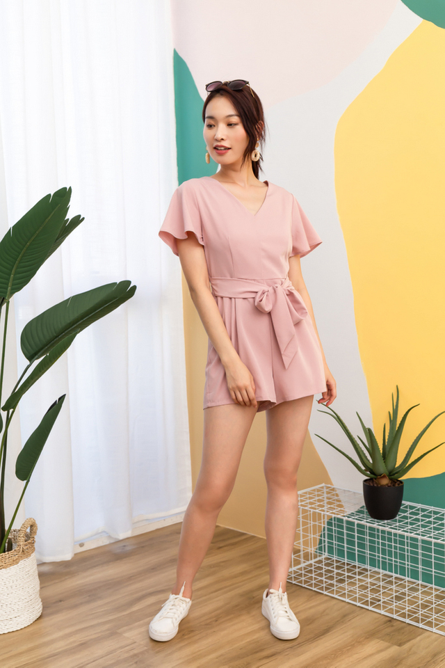 Carmelita Basic Ribbon Romper in Pink