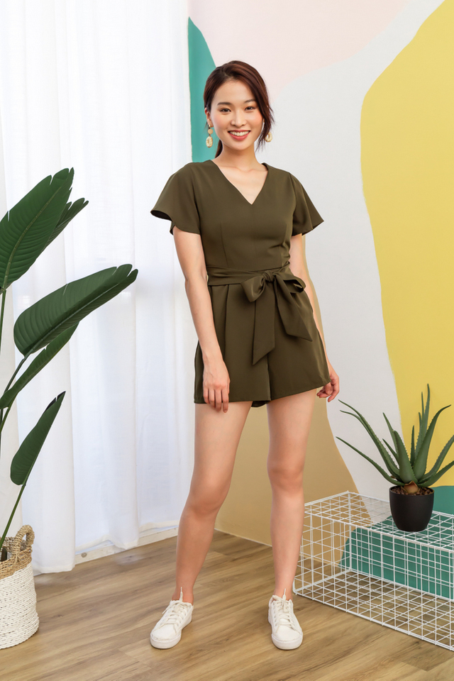 Carmelita Basic Ribbon Romper in Olive