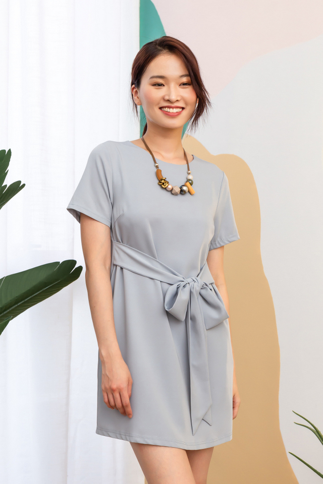 Evelynn Ribbon Shift Dress in Dusty Blue