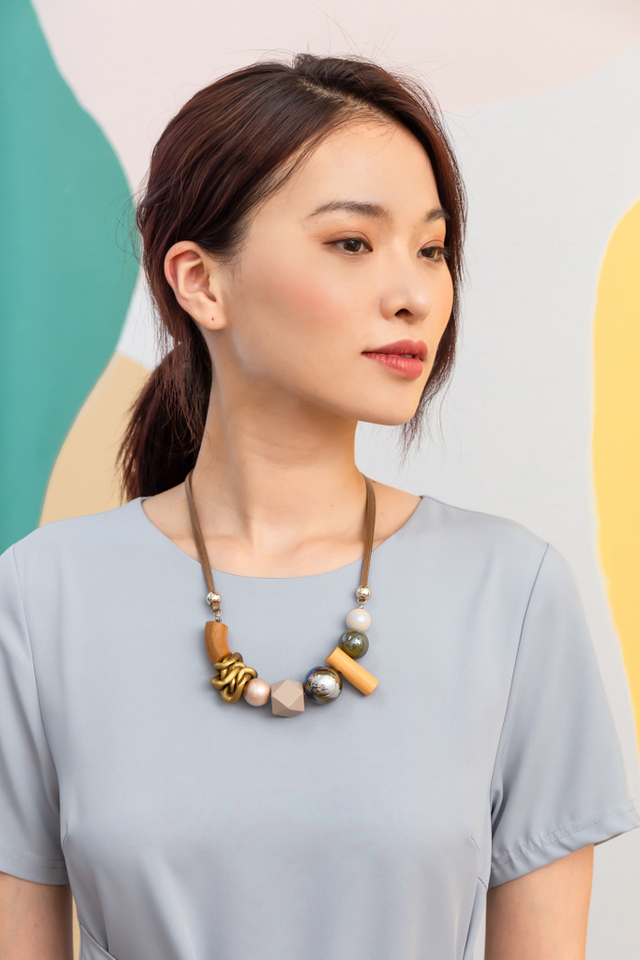 Malani Geometric Necklace in Brown