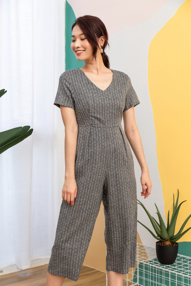 Hartley Striped Jumpsuit in Grey