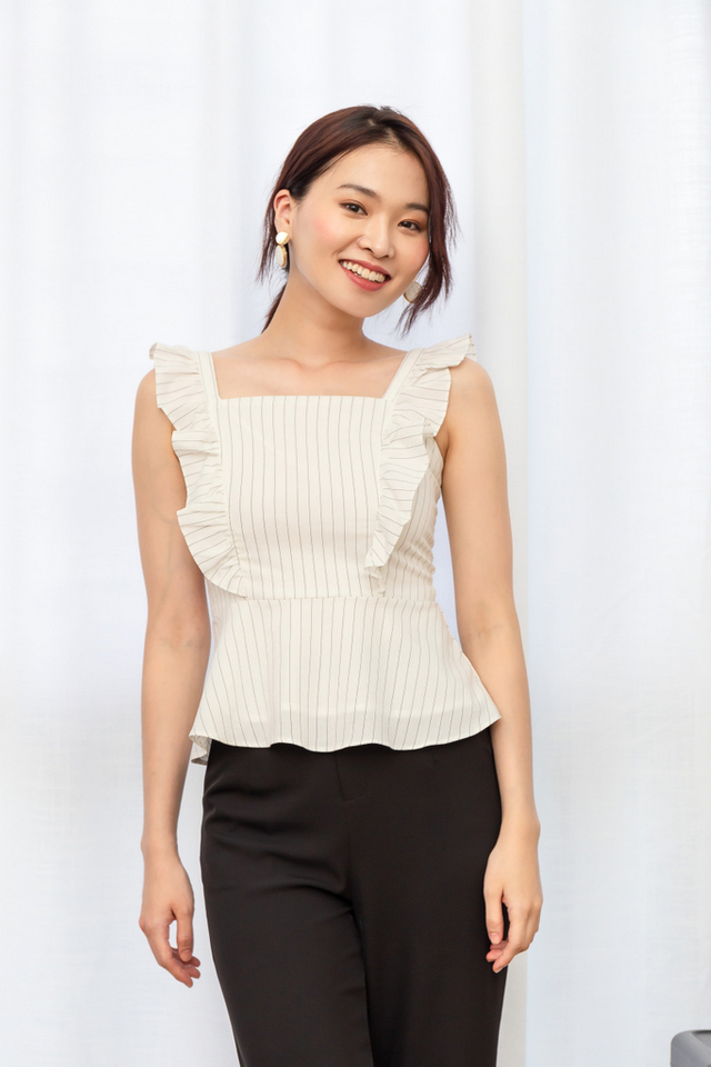 Usha Striped Ruffles Top in White