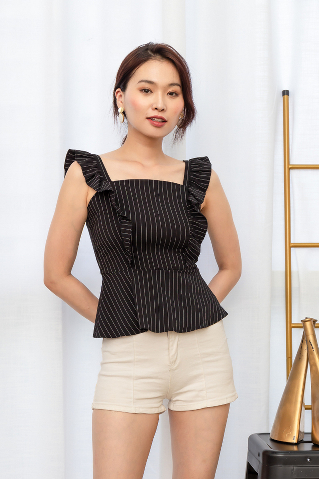 Usha Striped Ruffles Top in Black