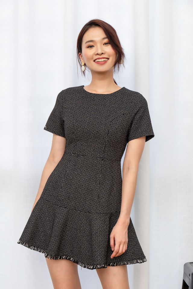 Vendela Tweed Skater Dress in Black
