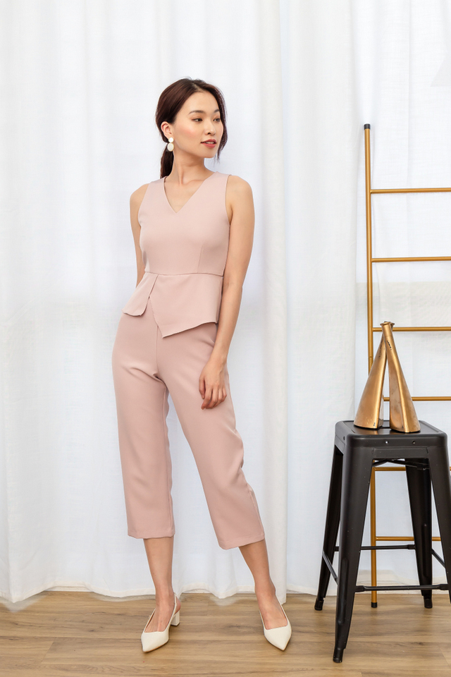 Rakel Peplum Overlay Jumpsuit in Dusty Pink