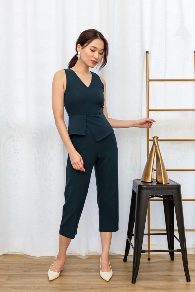 Rakel Peplum Overlay Jumpsuit in Forest