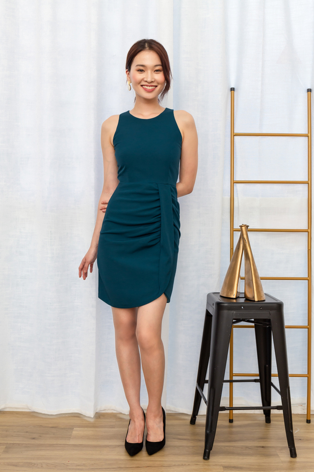 Polina Gathered Waist Dress in Teal