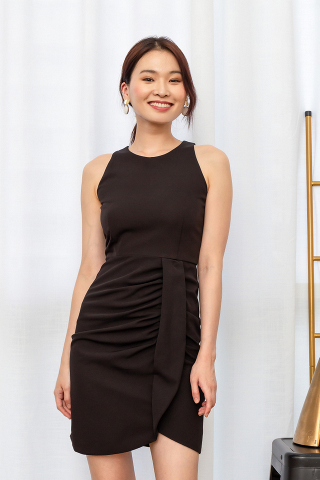 Polina Gathered Waist Dress in Black